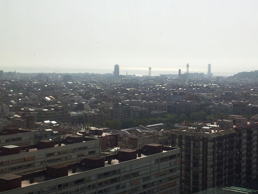 Barcelona fra 25.etasje på ett av byens hoteller