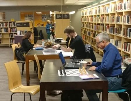 Sjakkstudier på biblioteket.