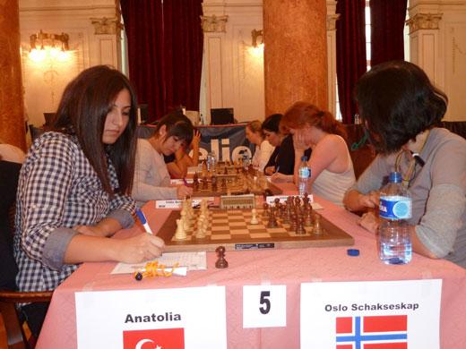 Tyrkiske WIM Betul Cemre Yildiz (2308) mot Sylvia Johnsen i Europacupen 2011