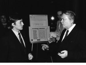 Karpov og Bøckman under jubileumsturneringen i `84