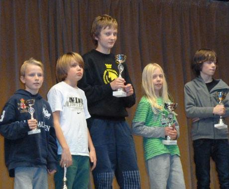Klasse E (11 år) med Ulrik Olsen på 5.plass og Eskil Ekeland Grønn på 3.plass.